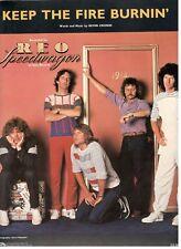 REO SPEEDWAGON-KEEP THE FIRE BURNIN' SHEET MUSIC-PIANO/VOCAL/CHORDS-1982-NEW!!