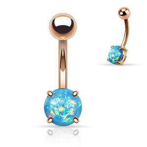 PAIR 14G ROSE GOLD 8MM BLUE OPAL STEEL PRONG SET NAVEL BELLY BUTTON RING BARBELL