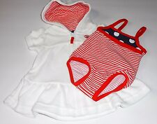 Carter's Infant Girls Hooded Terry Cover-Up & One (1) Piece Stripe Swimsuit NB