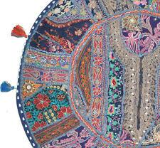 "32""  Blue Round Floor Pillow Bohemian Patchwork floor cushion pouf Vintage India"