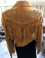 Cripple Creek Tan Studded Embellished Fringed Western Suede Leather Jacket Small