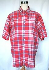 Vintage '90's Gap Men's Red Plaid Short Sleeve Cotton Button Down Shirt - Med