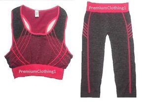 New Womens Sports 3/4 Legging & Crop Top Gym Bottom Running Yoga Fitness COTTON