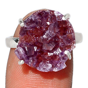 Amethyst Cluster Uruguay 925 Sterling Silver Ring Jewelry s.7 BR104179