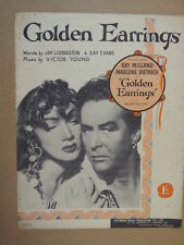 song sheet GOLDEN EARRINGS Marlene Dietrich