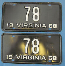 1968 Virginia License Plates low number 2 digit number plates #78