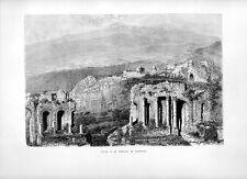 Stampa antica TAORMINA veduta panoramica teatro greco e Etna 1877 Old print