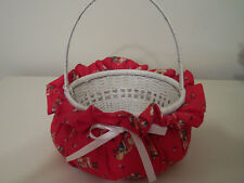Wicker Basket Covered With Christmas Printed Material Handmade