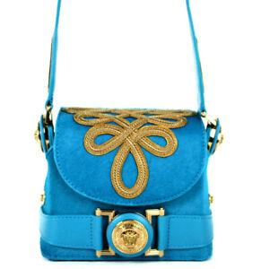 VERSACE $2,235 Aqua Blue Calf Hair THE D SIGNATURE Mini Crossbody Bag