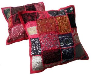 2 Pink Embroidery Sequin Patchwork Sari USA Pillow Cushion Covers AICC1009B