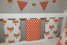 New Babies 💖 Cute Fox & Spots & White Cot Bar Bumpers 💖 Pack Of 8