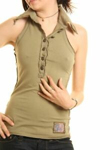 T-shirt Donna Top Canotta ZONA BRERA Polo A732 Bianco Verde Tg S M L