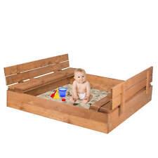 Sandkasten Sandbox Sandkiste aus Holz mit Klappdeckel Deckel Sitzbank 120x120cm