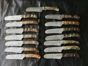 "Lot Of 15 Handmade 8"" Damascus Steel Bull Cutter Ram Horn Handle Knives"