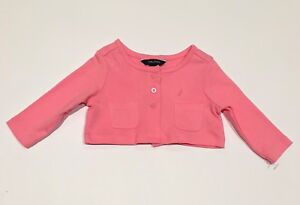NEW NAUTICA baby girls BRANDED cardigan 0-3 months coral pink top  NWOT