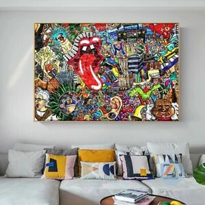 New Street Graffiti Art Canvas Painting Wall Poster and  Decorative Living Room