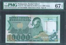 MADAGASCAR 10,000 Francs P74a ND(1988) PMG 67 EPQ Superb Gem Unc Top Pop!