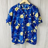 VINTAGE Blue Multi Floral Retro SIZE 14/16 UK Short Sleeve Satin Feel Blouse V1