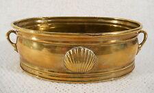 """9"""" X 6"""" Oblong Brass Planter Pot w/ Handles & Shell Decor"""