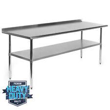 "Open Box - Stainless Steel Commercial Work Prep Table w Backsplash - 24"" x 72"""
