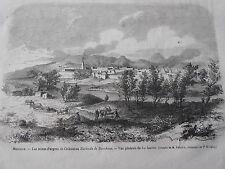 Gravure 1866 - Mexique Les mines d'argent de Chihuabua Hacienda de Beneficios