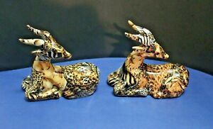Lot of 2 Gazelle La Vie Figurine African Jungle Safari Animal Patchwork Ceramic