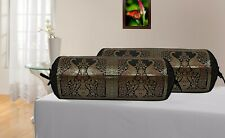 Indian Ethnic Bolster Pillowcase Cylinder Traditional Design Bolster Pillows