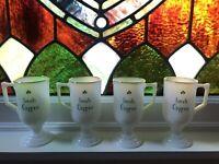 Federal Glass Vintage Irish Coffee Pedestal Mugs - Milk Glass|Green Shamrock