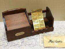 Vintage Wood Wooden 2 Row Spice Rack W/ Recipe Box Spice Jar Stickers Included