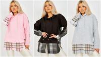 Women Plaid Check Hooded Sweatshirt Hoodie Ladies Casual Loose Pullover Long Top