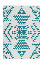 Alfombrilla Alfombra Étnica Mayo Aztecas Diseño Triángulos Scandi Crema Blanca
