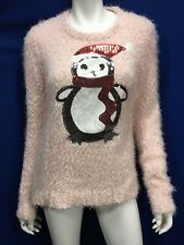 Christmas Penguin Sequin Sweater Women Junior 11 12 13 Pink Ugly Sweater