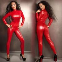 Damen Übergröße S-5XL Roter Leder Body Stretch Overall Catsuit Party Clubwear