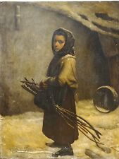 Fine Huge 19th Century French Girl Winter Kindle Portrait Antique Oil Painting