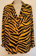 Women's Summer Top By Papaya Tiger Print / Tropical Chiffon Blouse Size 14
