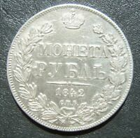Russia Empire Russland 1 Rouble 1842 СПБ АЧ SPB ACH - Nikolous I - Silber Munze