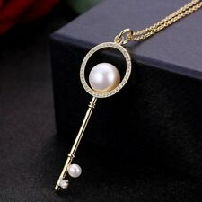 """Sweat Jewelry Natural White Pearl Gems Yellow Gold Plated Necklace Pendants 2"""""""