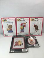 LOT of 5 Counted Cross Stitch Suzy's Zoo Janlynn Magic Special Hang Cook Caring