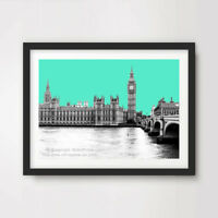 BRIGHT GREEN LONDON SKYLINE CITY ART PRINT Poster Pop Home Decor Big Ben Wall