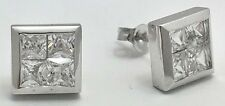 1.75 cts WHITE SAPPHIRE  STUD Earrings 14k White Gold  *FREE SHIPPING