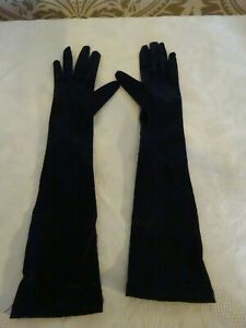 Ladies Vintage Helanca Black Satin Long Opera Gloves  Size 6.5 Small