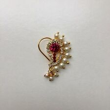 Maharashtrian Traditional Jewel Nose Ring Pin Nath stud Tribal Hole Indian India