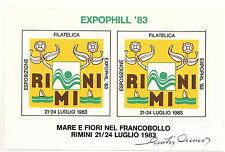 FOGLIETTO MUSICA E ARTE  RIMINI EXPOPHILL '83 FIRMATO GIULIO CUMO
