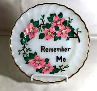 """Fire King Shell Hand Painted Remember Me 7 1/4"""" Salad Plate"""