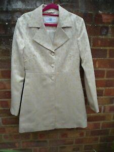 New Look 2 Piece Cream & Gold Print Trouser Suit Long Line Coat Size 10