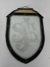 RARE SOUTH AUSTRALIAN JOCKEY CLUB / SAJC MONOGRAMMED LEADLIGHT GLASS PANEL