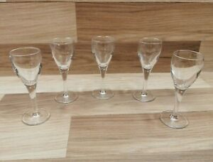 5 x Small Crystal Glass Stemmed Sherry / Port / Liquer Glasses