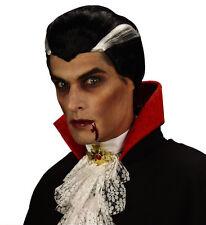 Mens Vampire Black and White Wig Count Dracula Halloween Horror Fancy Dress