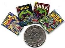4 Miniature   'INCREDIBLE HULK'   Comics  - Dollhouse 1:12 Scale OPENING PAGES