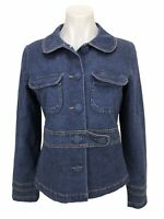 Tulle Anthropologie Women's Size L Jacket Denim Fitted Lined Stretch Blazer